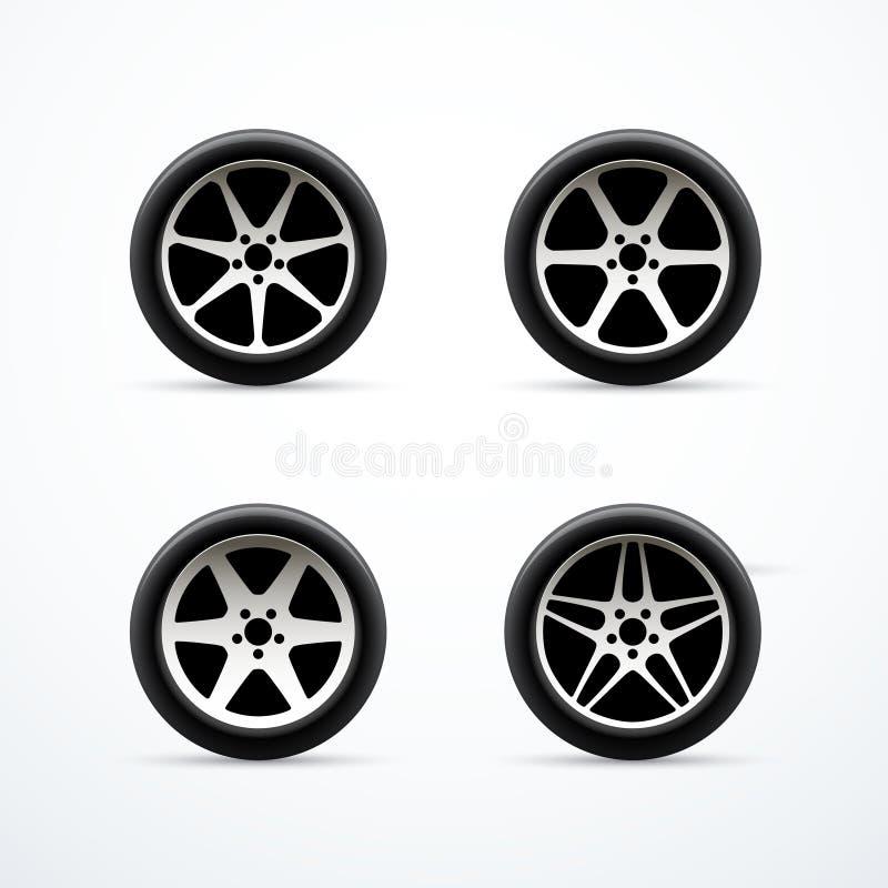 Reeks Pictogrammen van het Autowiel Vector illustratie vector illustratie