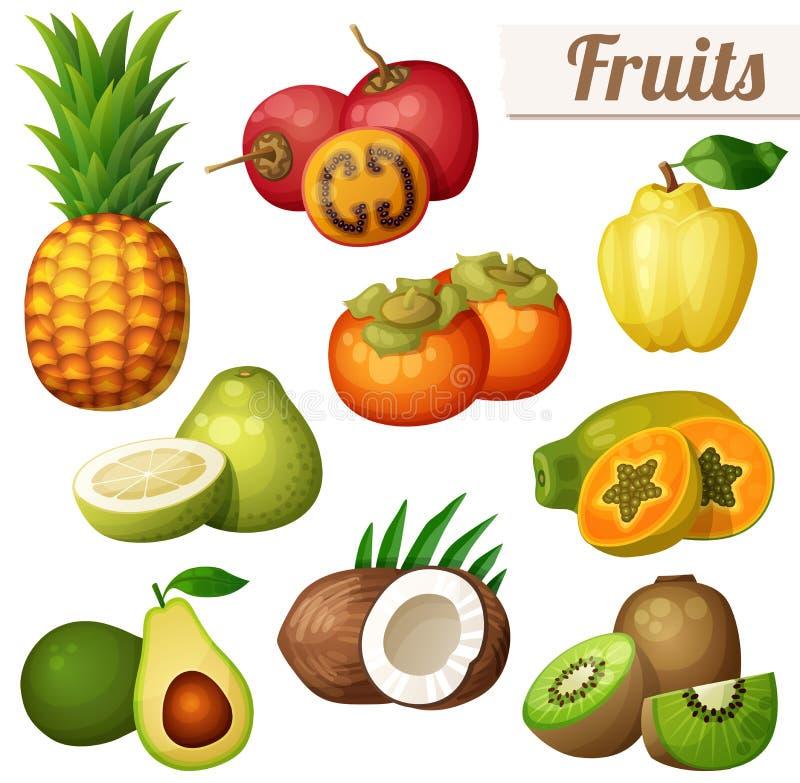Reeks pictogrammen van het beeldverhaalvoedsel op witte achtergrond wordt geïsoleerd die Exotische vruchten royalty-vrije illustratie