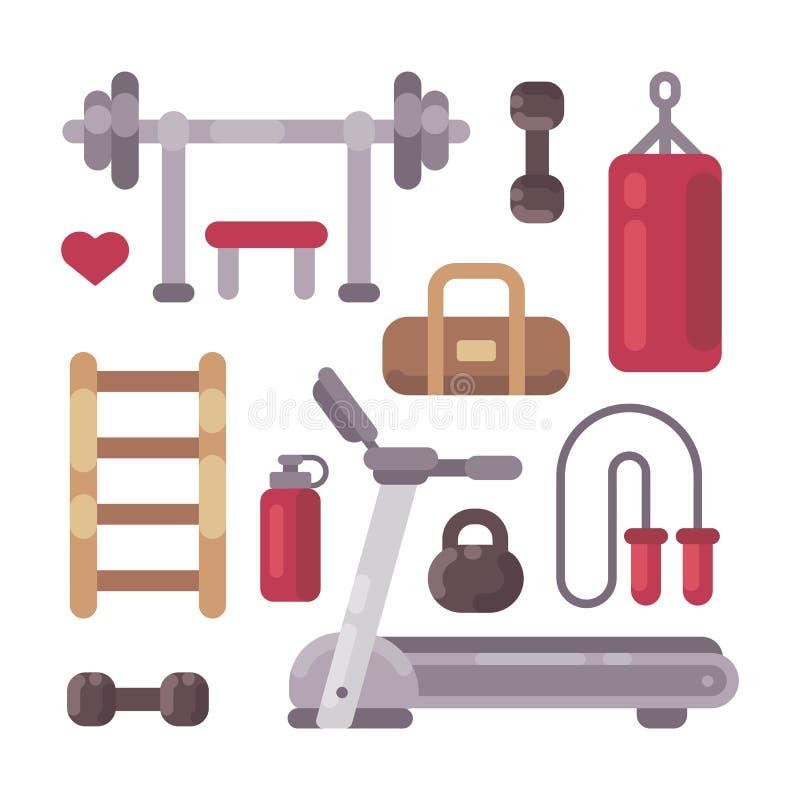 Reeks pictogrammen van het gymnastiekmateriaal Sport en fitness objecten vlakke pictogrammen vector illustratie