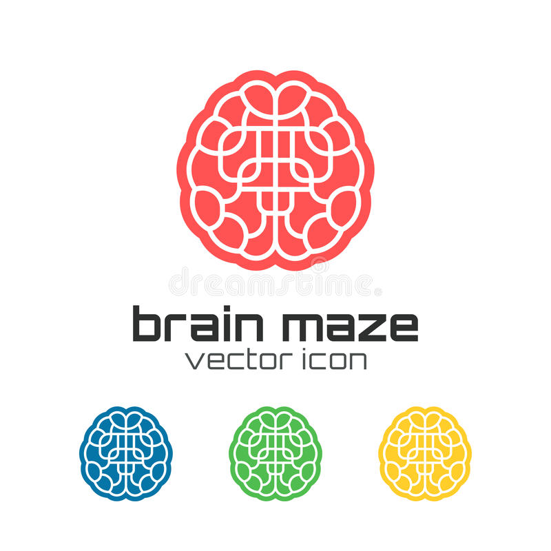 Reeks pictogrammen van het hersenenlabyrint royalty-vrije illustratie