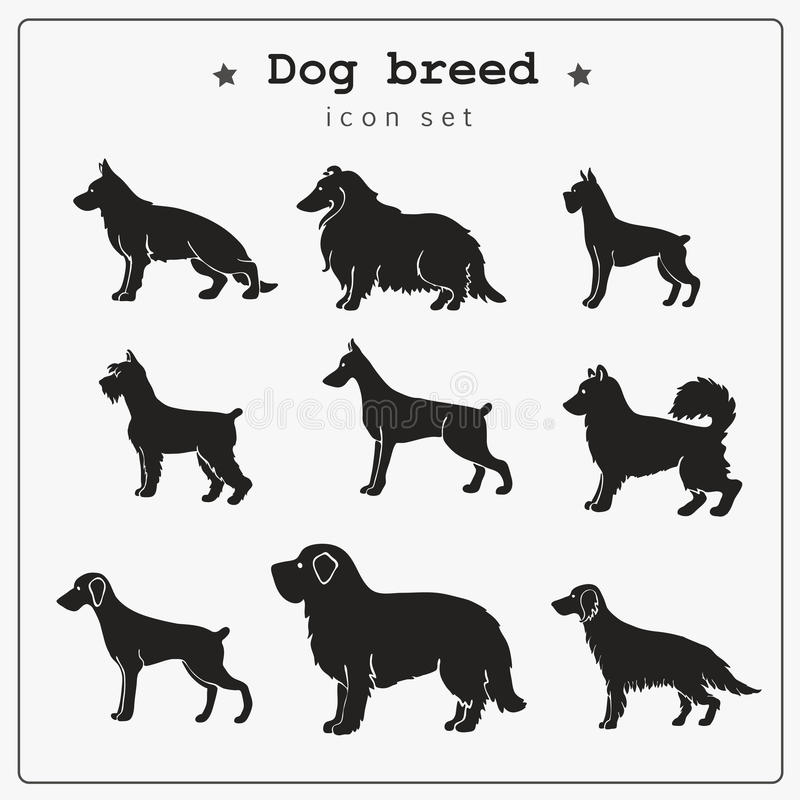 Reeks pictogrammen van het hondras vector illustratie