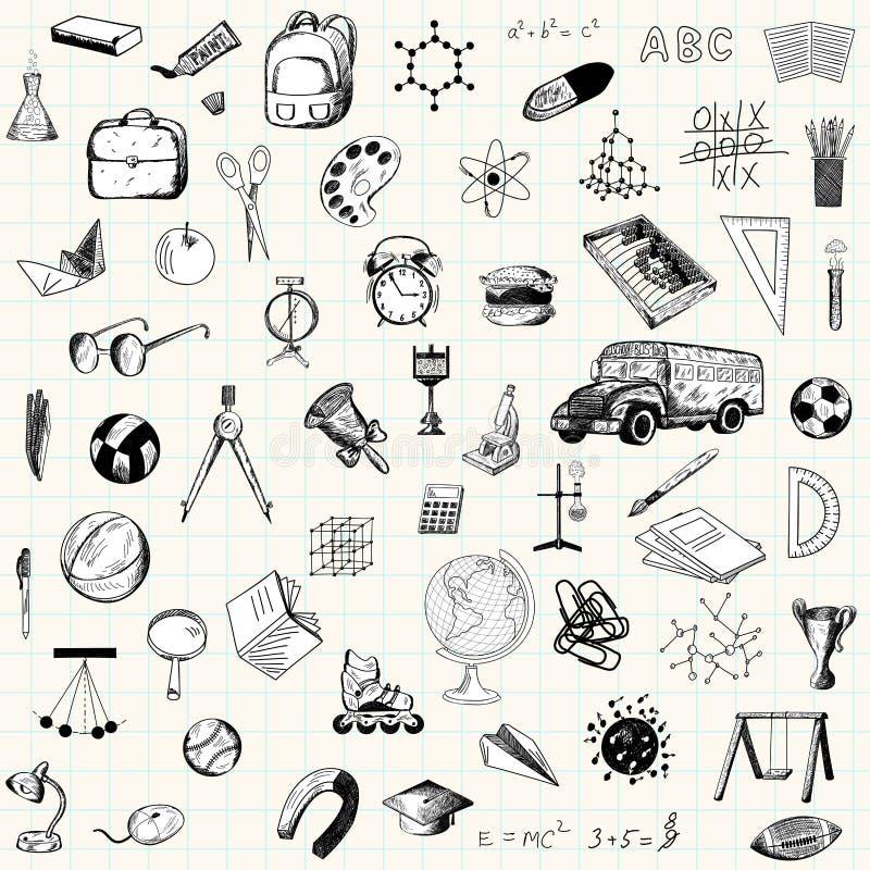 Reeks pictogrammen van het krabbelonderwijs vector illustratie