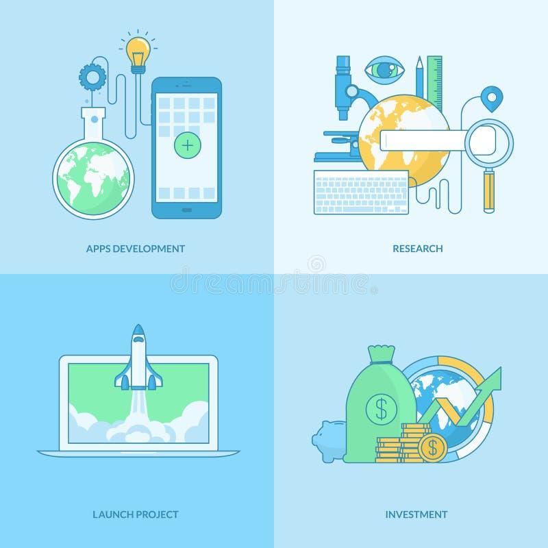 Reeks pictogrammen van het lijnconcept voor appsontwikkeling, zaken, financiën stock illustratie
