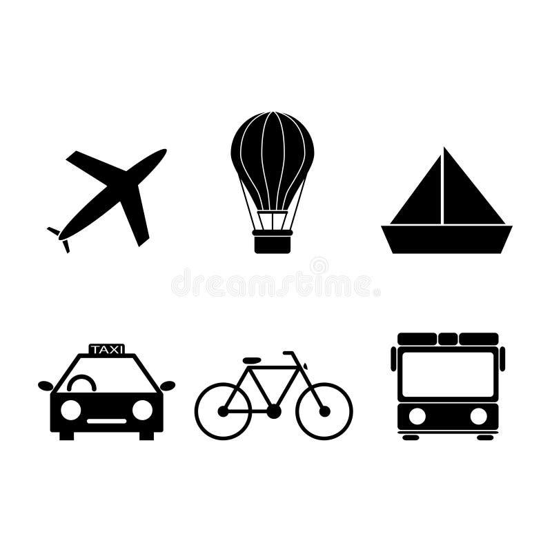 Reeks pictogrammen van het reisvervoer stock illustratie