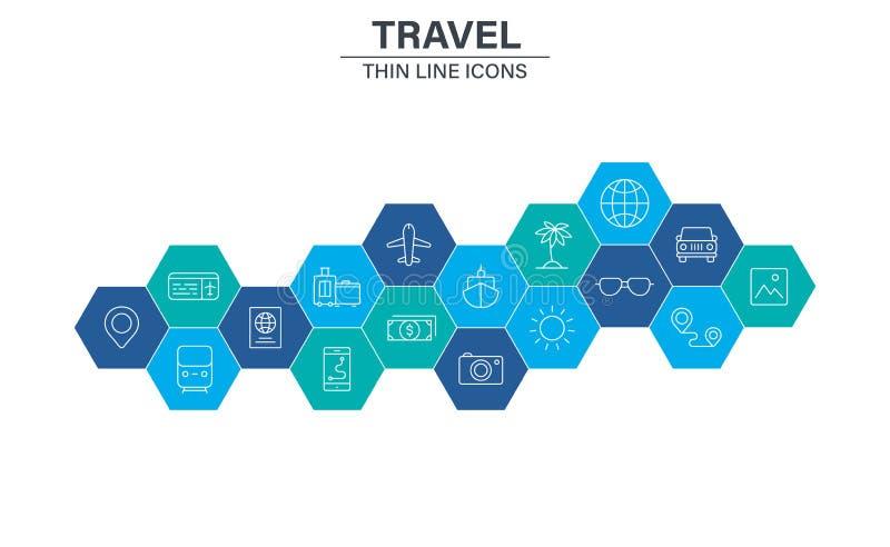 Reeks pictogrammen van het Reisweb in lijnstijl Vervoer, Bagage, voedsel, navigatie, vakantie Vector illustratie royalty-vrije illustratie
