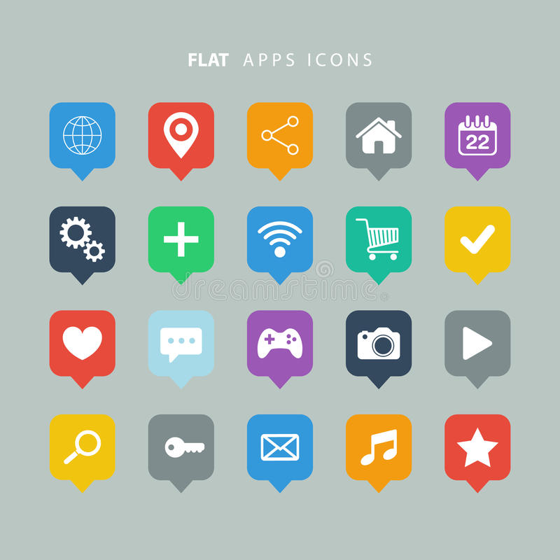 Reeks pictogrammen van kleuren vlakke apps stock illustratie