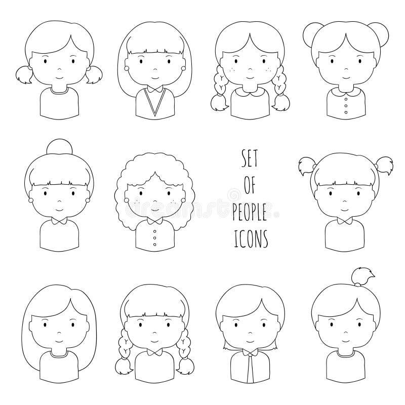 Reeks pictogrammen van lijn vrouwelijke gezichten Grappige beeldverhaalhand stock illustratie