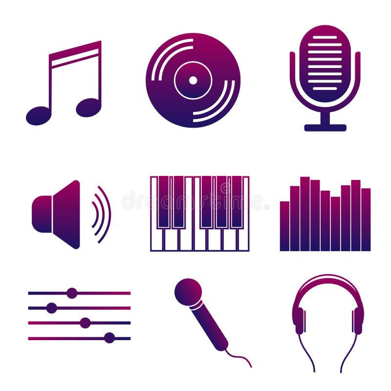 Reeks pictogrammen van muziek en liederen Moderne inzameling van de heldere geluidsopname van de tekensstudio royalty-vrije illustratie