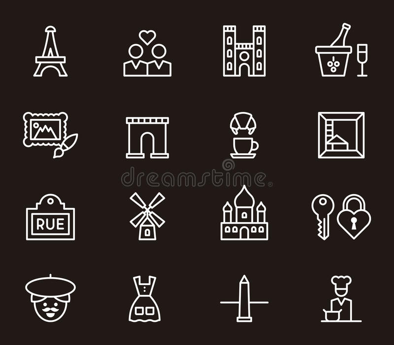 Reeks pictogrammen van Parijs en van Frankrijk stock illustratie
