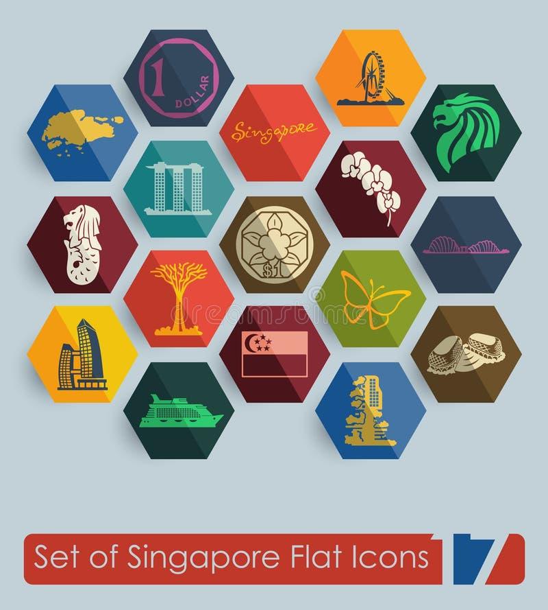 Reeks pictogrammen van Singapore stock illustratie