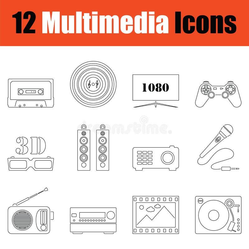Reeks pictogrammen van verschillende media vector illustratie