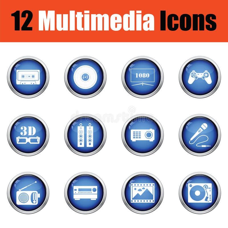 Reeks pictogrammen van verschillende media stock illustratie