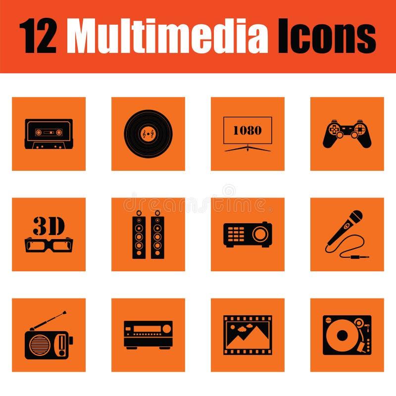 Reeks pictogrammen van verschillende media royalty-vrije illustratie