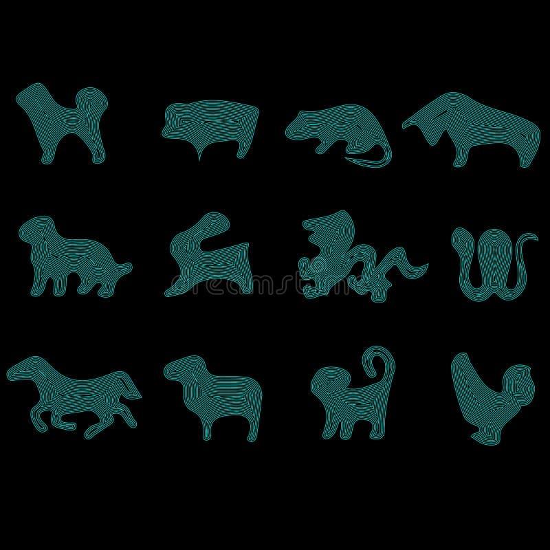 Reeks pictogrammen voor de oostelijke horoscoop: rat, stier, tijger, konijn, draak, slang, paard, schapen, aap, haan, hond, varke vector illustratie
