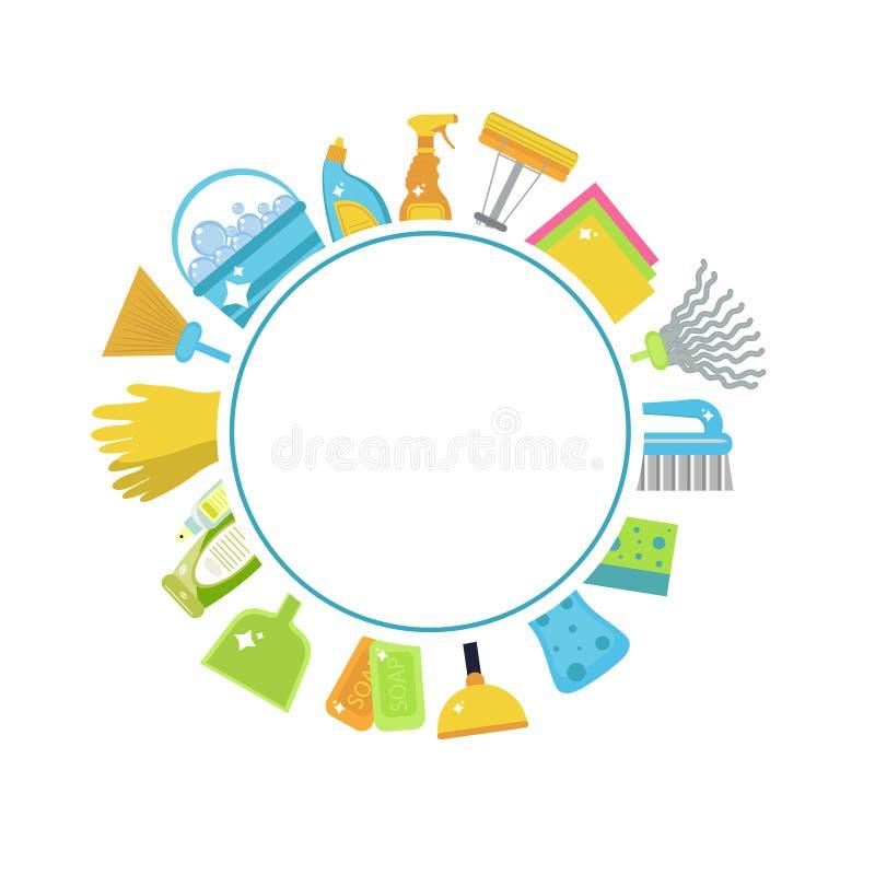 Reeks pictogrammen voor het schoonmaken van hulpmiddelen Huis het schoonmaken schoonmakende levering Vlakke ontwerpstijl Schoonma vector illustratie