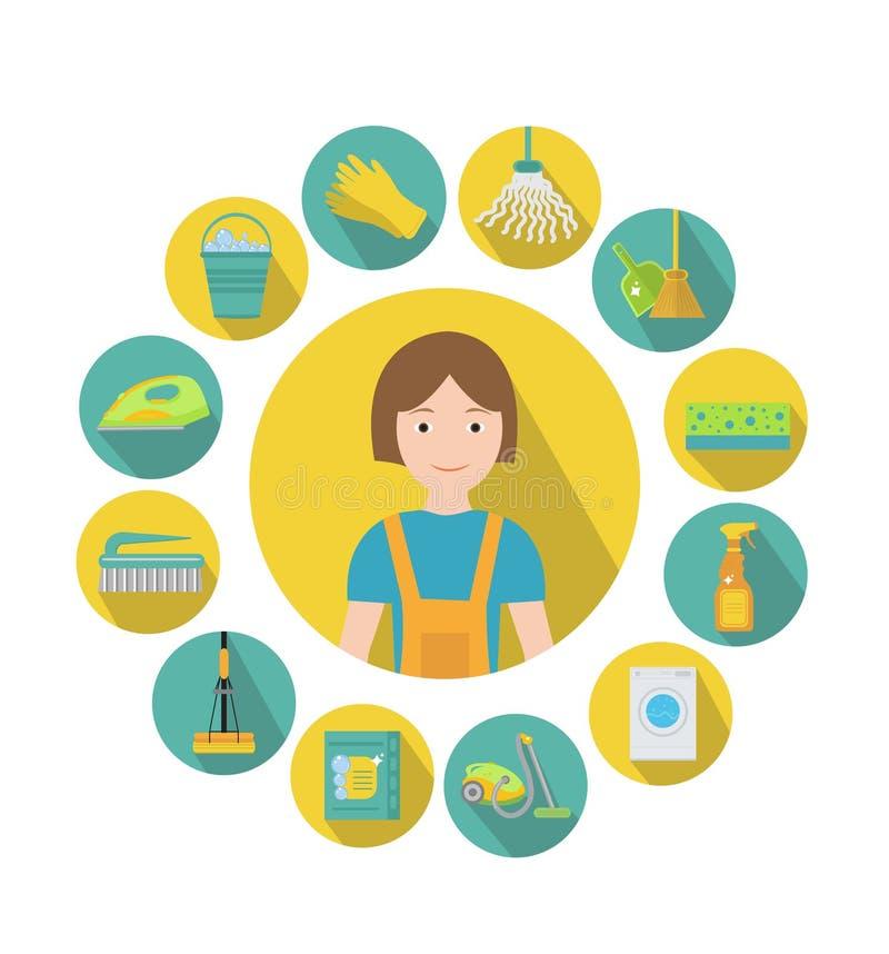 Reeks pictogrammen voor het schoonmaken van hulpmiddelen Huis schoonmakend personeel Vlakke ontwerpstijl Schoonmakende ontwerpele stock illustratie