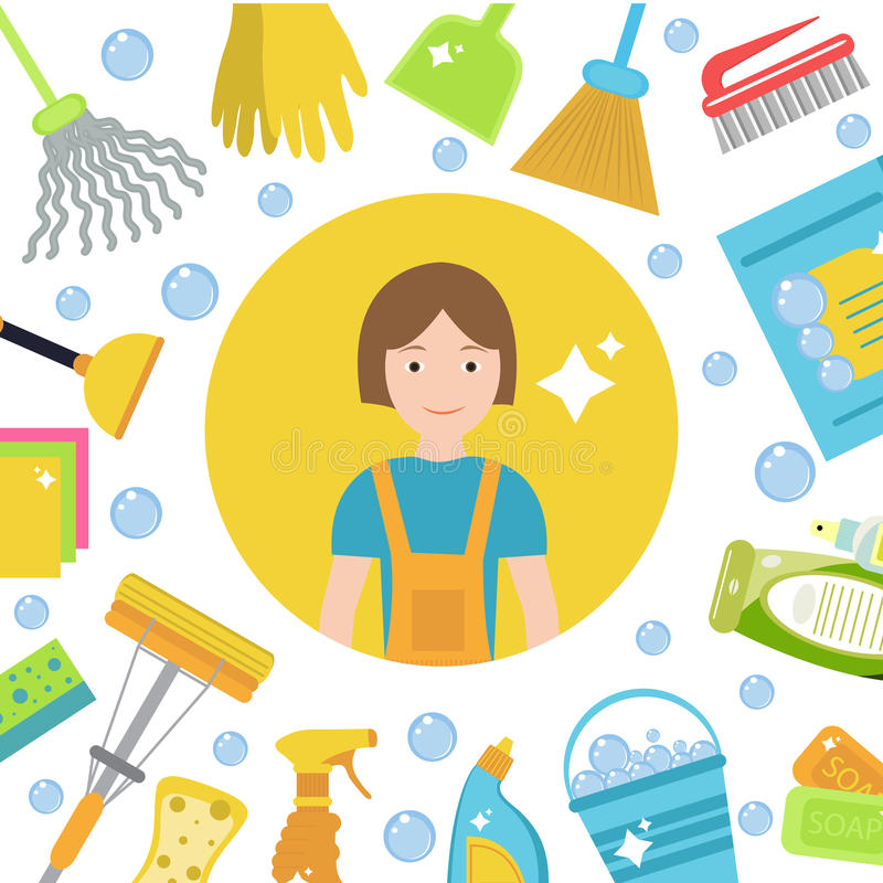Reeks pictogrammen voor het schoonmaken van hulpmiddelen Huis schoonmakend personeel Vlakke ontwerpstijl Schoonmakende ontwerpele vector illustratie