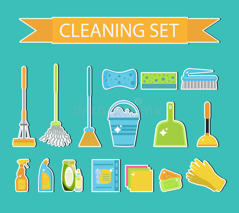 Reeks pictogrammen voor het schoonmaken van hulpmiddelen Huis schoonmakend personeel Vlakke ontwerpstijl Schoonmakende sticker Sc stock illustratie
