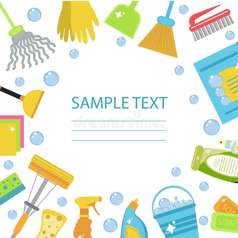 Reeks pictogrammen voor het schoonmaken van hulpmiddelen Schoonmakend malplaatje voor tekst, achtergrond Vlakke ontwerpstijl Scho vector illustratie