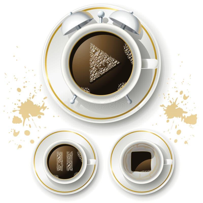 Reeks pictogrammen voor koffie goede dag stock illustratie