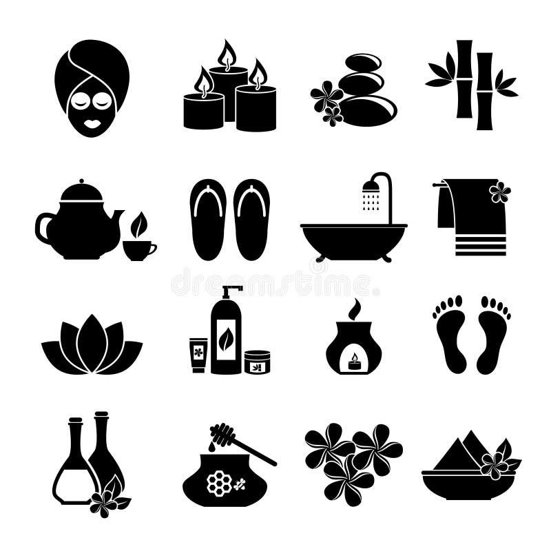Reeks pictogrammen voor kuuroord vector illustratie