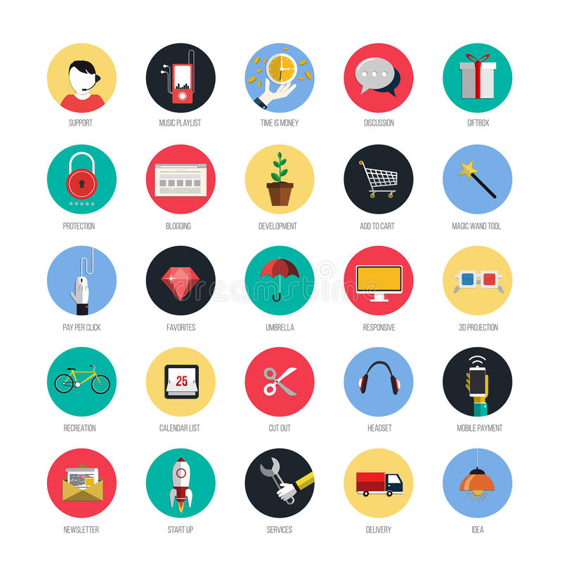 Reeks pictogrammen voor mobiel app en Web stock illustratie