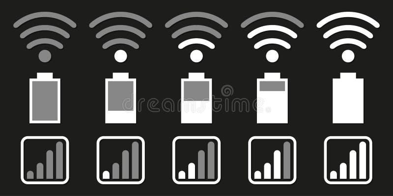 Reeks pictogrammen voor mobiel telefoonsysteem Wifi, batterij, netwerk royalty-vrije illustratie