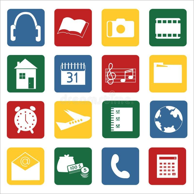 Reeks pictogrammen voor mobiele apparaten stock foto's