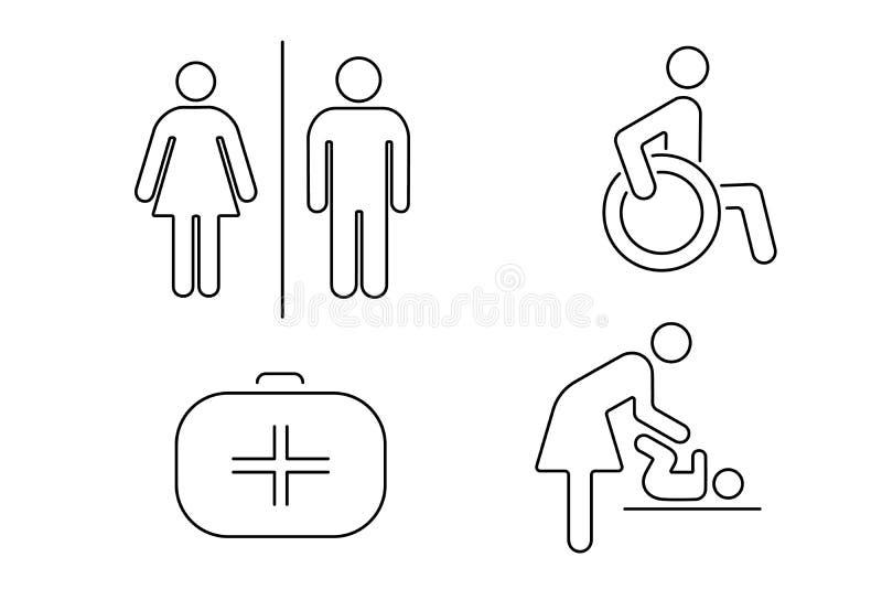 Reeks pictogrammen voor openbaar toilet Lineaire Vector royalty-vrije illustratie