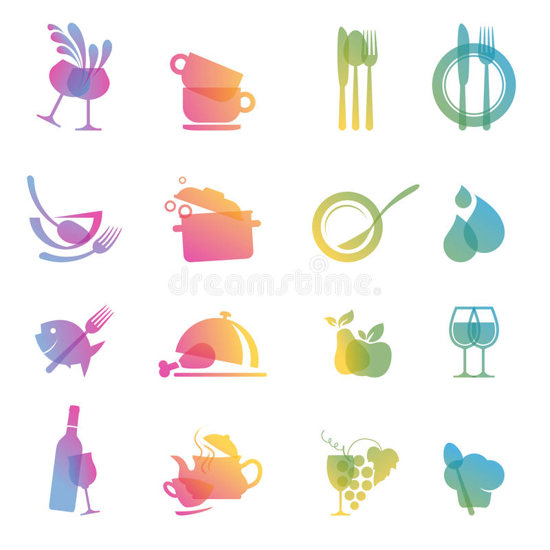 Reeks Pictogrammen Voor Restaurants Stock Afbeelding