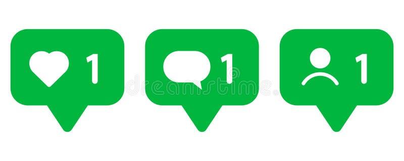 Reeks pictogrammen voor sociale netwerken Als, bericht en gebruiker royalty-vrije illustratie