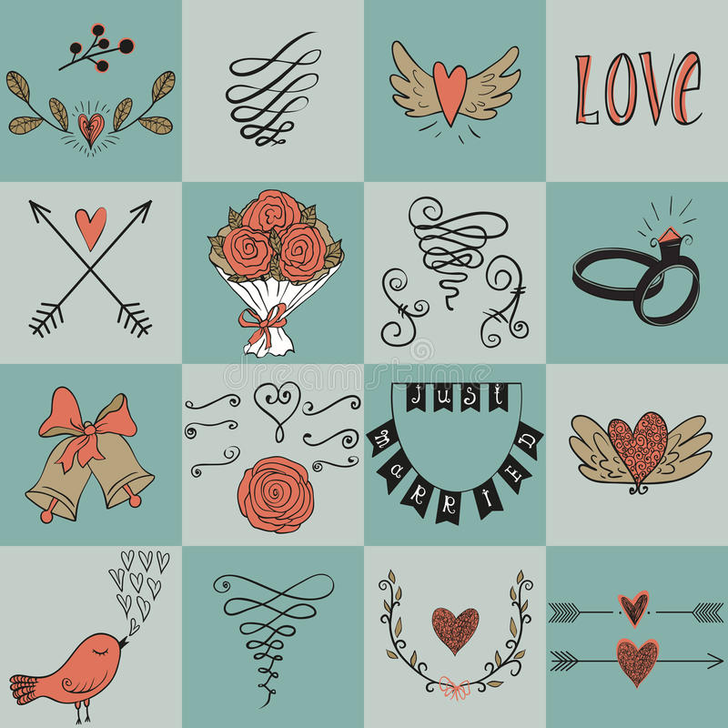 Reeks pictogrammen voor Valentijnskaartendag, Moedersdag, huwelijk, liefde en romantische gebeurtenissen royalty-vrije illustratie