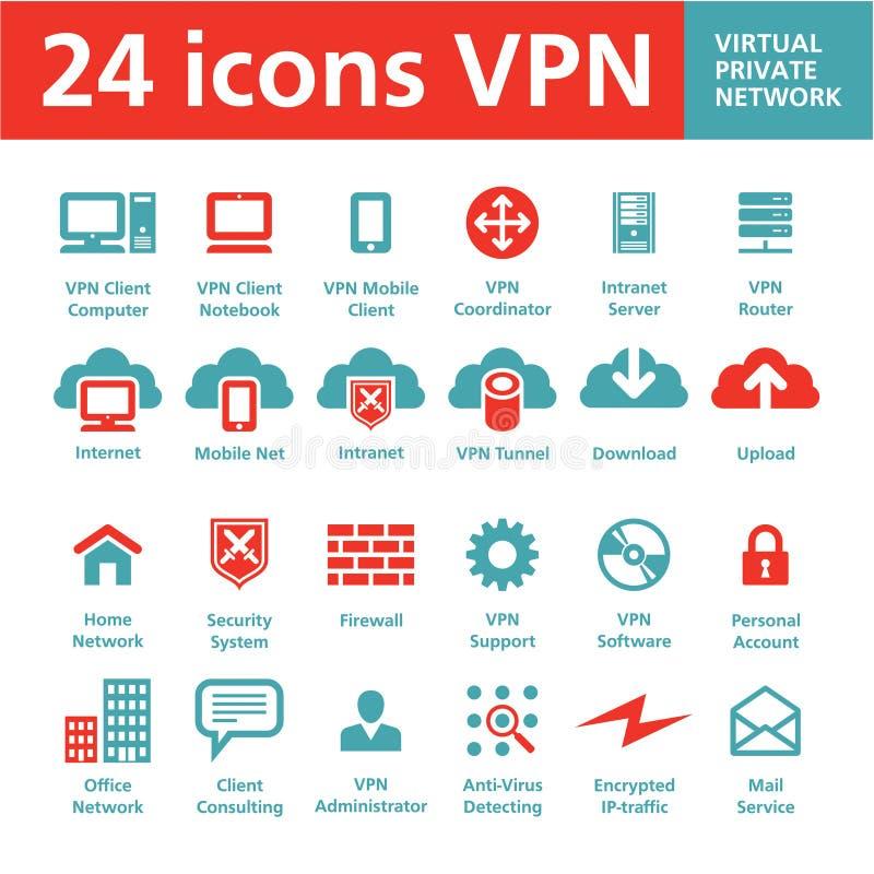 24 vectorPictogrammen VPN (Virtueel Privé Netwerk) vector illustratie