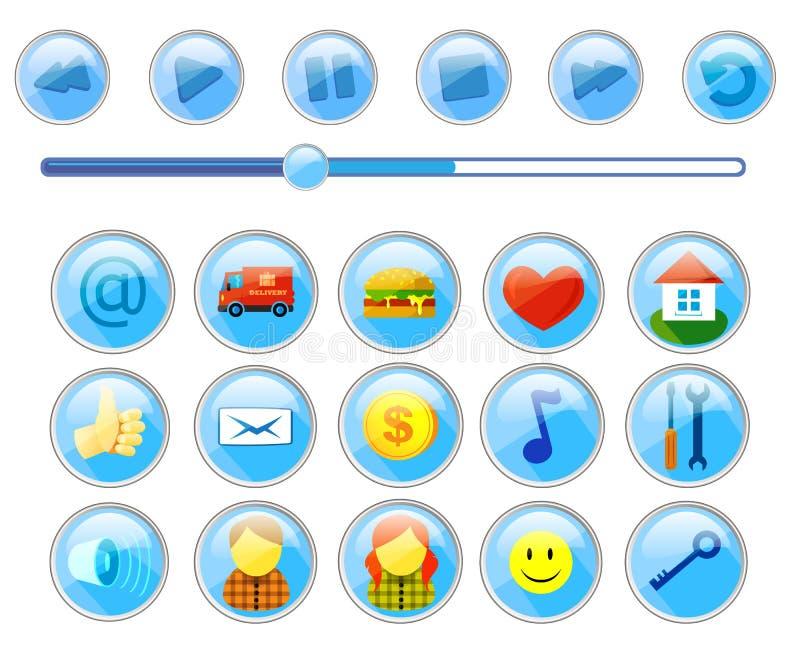 Reeks pictogrammen voor websitesinterface en knopen voor speler royalty-vrije illustratie