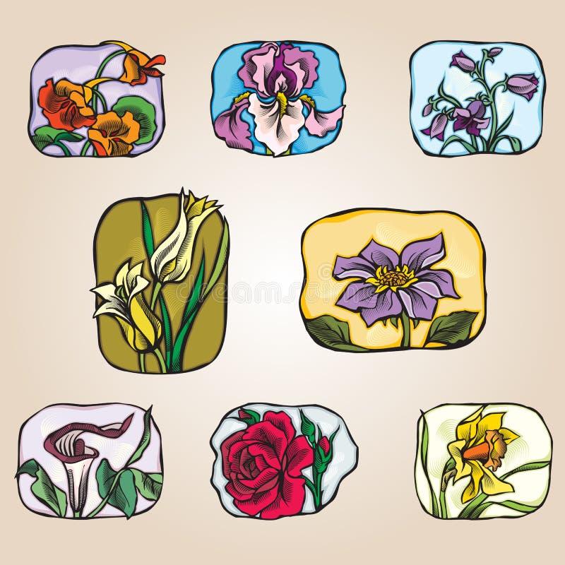 Reeks pictogrammenbloemen royalty-vrije stock afbeeldingen