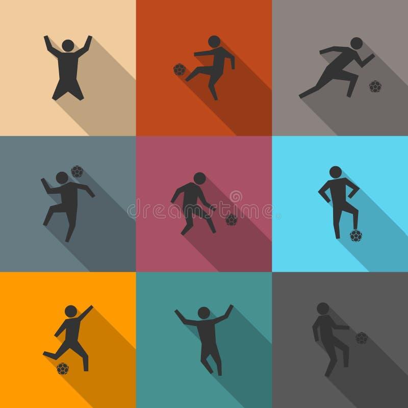 Reeks pictogrammenvoetballers, vectorillustratie stock illustratie
