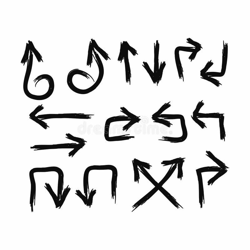 Reeks pijlen die met de hand met een borstel in grungestijl worden getrokken Vector illustratie vector illustratie