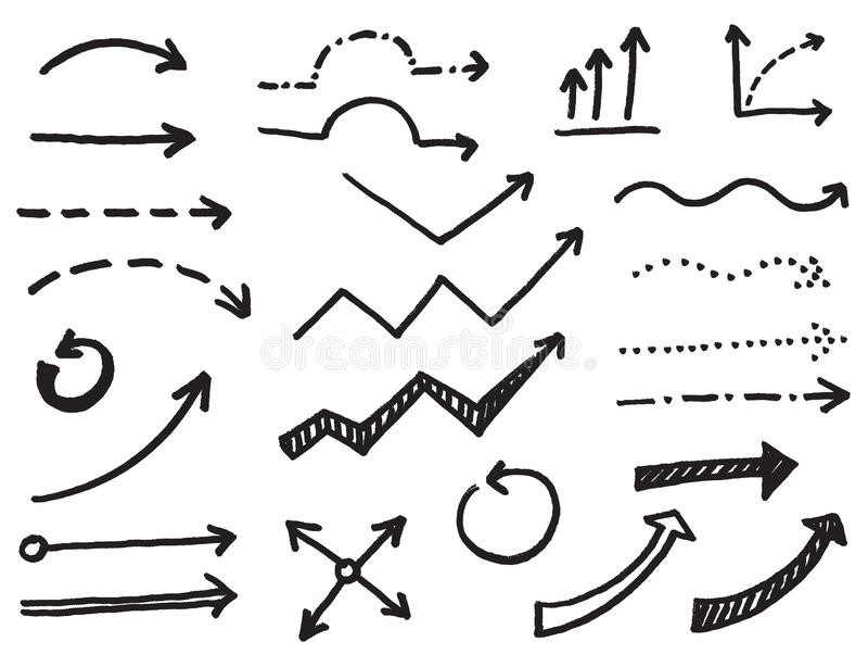 Reeks pijlen en wijzers, handgrafiek royalty-vrije illustratie