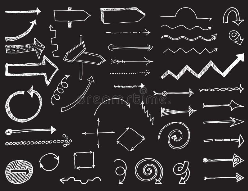 Reeks pijlen en wijzers, handgraphics_3 vector illustratie
