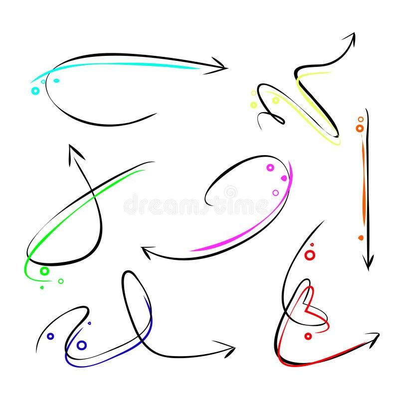 reeks pijlen in regenboogkleuren royalty-vrije illustratie