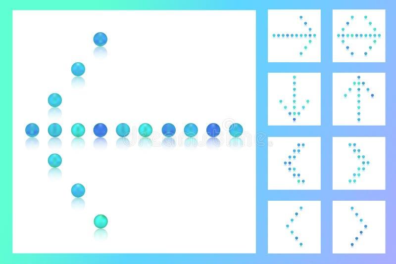 Reeks 9 pijlen van kleurrijke blauwe toonparels, suikergoed, snoepjes, suiker, bonbon, ondertekent stock afbeelding