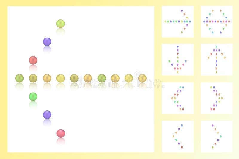 Reeks 9 pijlen van kleurrijke parels, suikergoed, snoepjes, suiker, bonbon, teken stock foto's