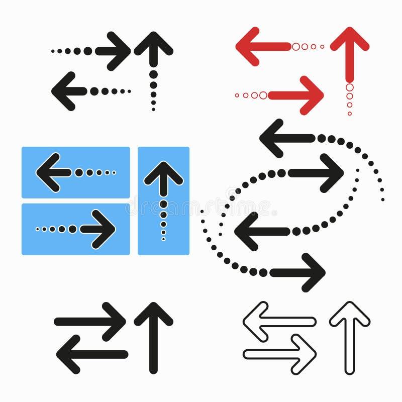 Reeks pijlen van verschillende vormen in vlakke stijl Geïsoleerd op een lichte achtergrond Informatie, richtingsindicatoren Vecto vector illustratie