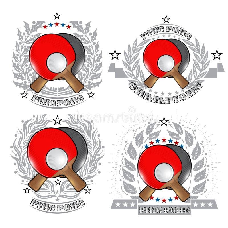 Reeks pingpongetiketten, gekruiste rackets met bal in centrum van zilveren verschillende kronen op wit Sportembleem voor om het e royalty-vrije illustratie