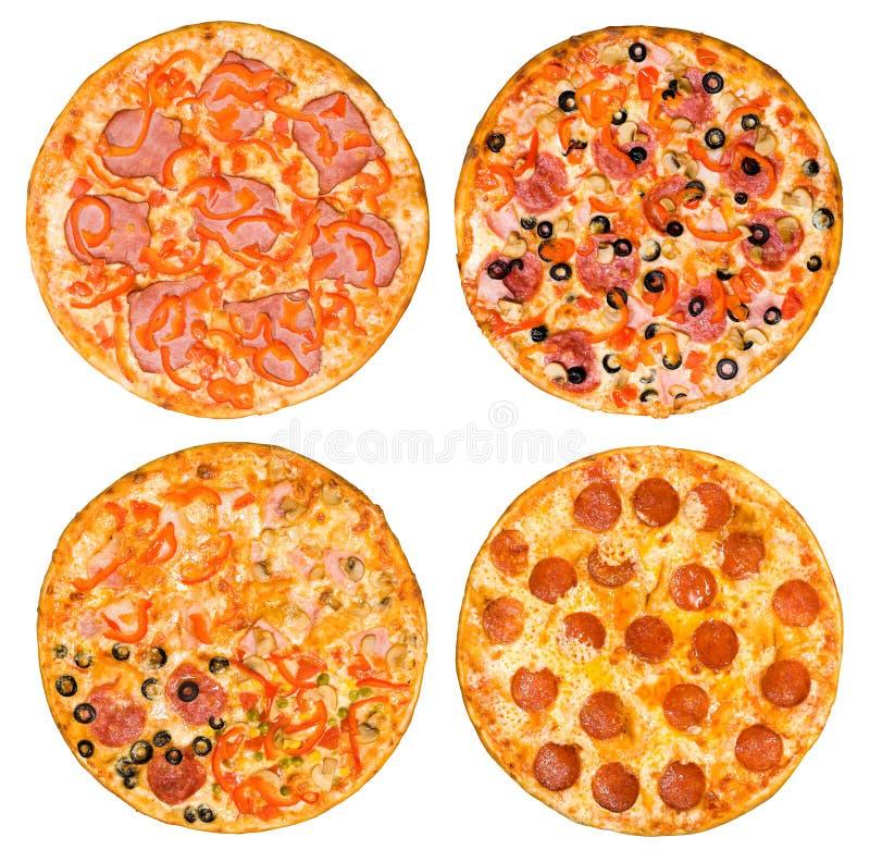Reeks pizza's met ham en pepperonis stock fotografie