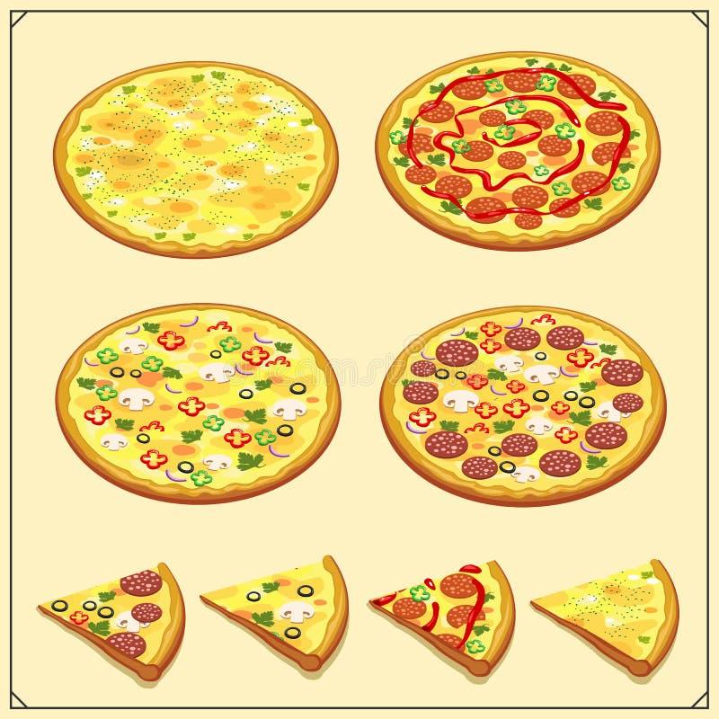 Reeks pizzaetiketten, kentekens, pictogrammen en ontwerpelementen Emblemen voor pizzeria stock illustratie