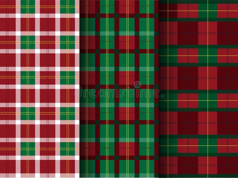 Reeks plaidpatronen, geruit Schots wollen stof, naadloze, Vectorillustraties vector illustratie