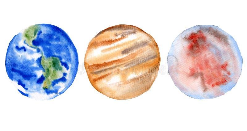 Reeks planeten van het zonnestelsel Aarde, Mars en Jupiter Geïsoleerdj op witte achtergrond De illustratie van de waterverf stock illustratie