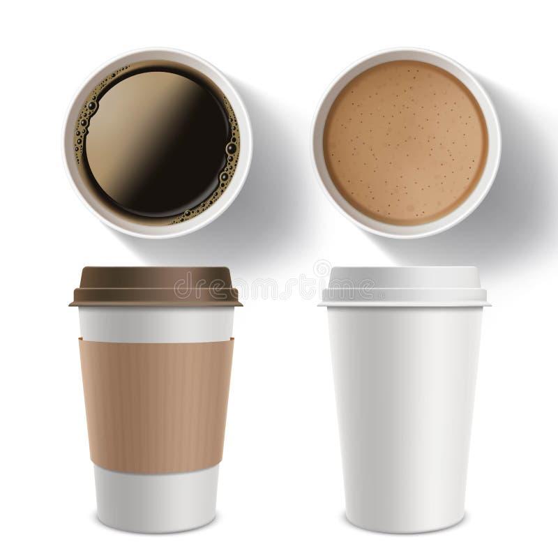 Reeks plastic containers koffie Geïsoleerd model op een wit vector illustratie