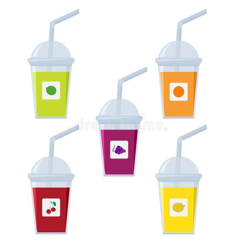 Reeks plastic glazen met stro Vruchtensappen - kers, citroen, druiven, kalk, sinaasappel Vector royalty-vrije illustratie